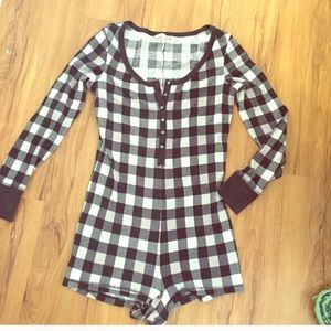 Victoria's Secret checkered onesie pajama M